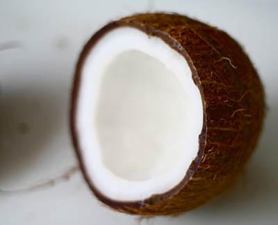 Young Coconut Sliced in Half