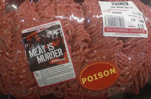 Meat is Murder and Poison Lables on a Pack of Beef