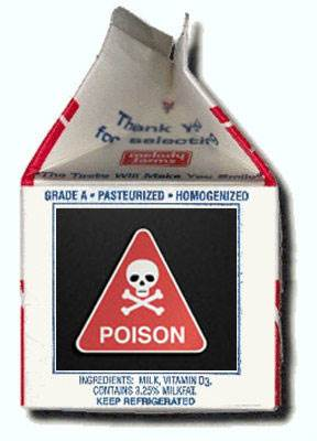 Milk Carton Marked with a Poison Sign