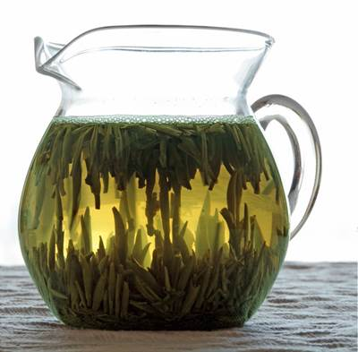Chinese Green Tea in a Glass Jug