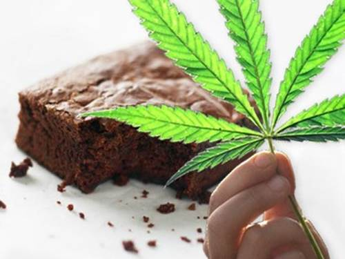 Marijuana Brownie and a Marijuana Plant Leaf