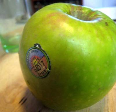 Sticker Label with Produce Code on an Apple