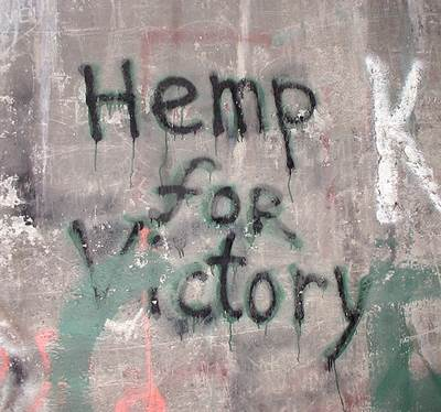 'Hemp for Victory' Graffiti on a Wall