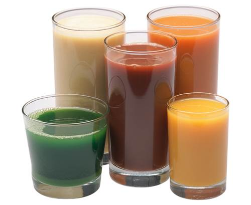 Glasses Full of Fruit and Vegetable Juices