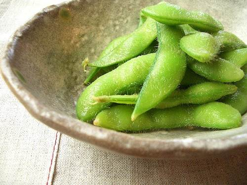 Green Soybeans in a Bowl