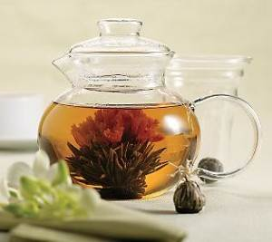 Green Tea Brewing in a Glass Teapot