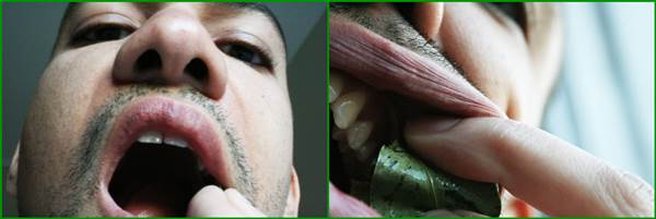 Packing Coca Leaves Inside Mouth