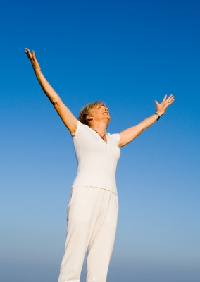 Woman Expressing Joy on Menopause Relief