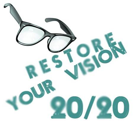 "Eyeglasses with a Slogan ""Restore Your Vision"""