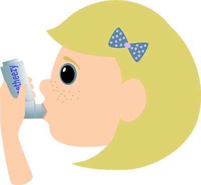Grphic of a Child Using an Asthma Inhaler Pump