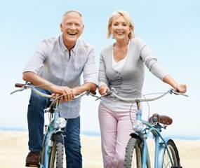 A Senior Couple and Arthritis Sufferers on Bicycles