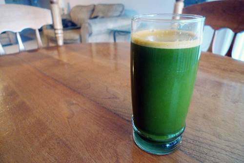 Spinach Juice in a Glass