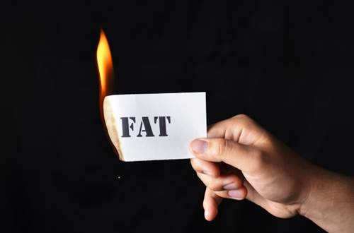 Hand holding a Burning Paper with 'FAT' written over it