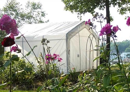A Portable Greenhouse in a Garden