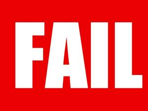 White 'FAIL' Sign on a Red Background